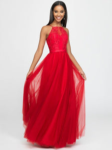 Red Beaded Halter Neck Tulle Dress
