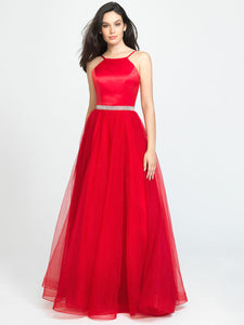 Red Halter Sparkle Belt Dress