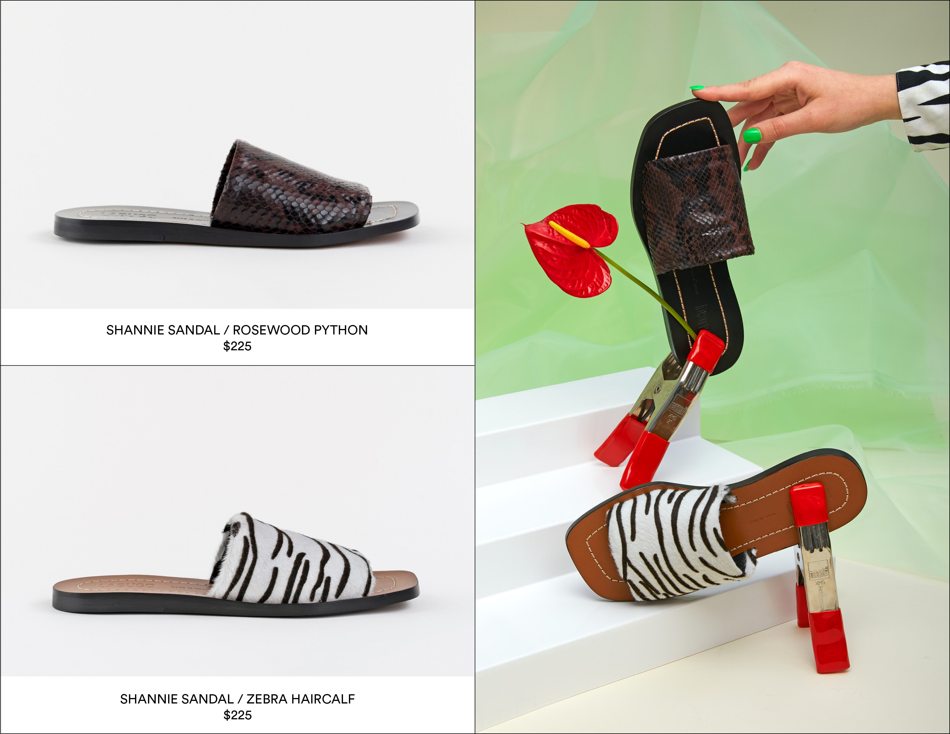 Labucq Shannie Sandal | Rosewood Python and Zebra Haircalf