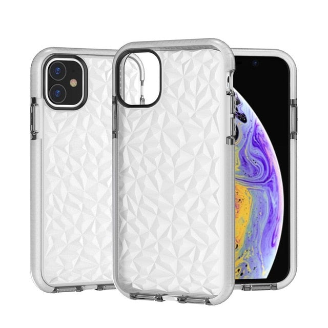 Shockproof Transparent Diamond Textured Case