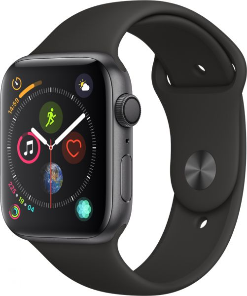 Apple Watch Series 4 - 44mm Space Gray Aluminum Case with Black Sport Band, GPS, watchOS 5