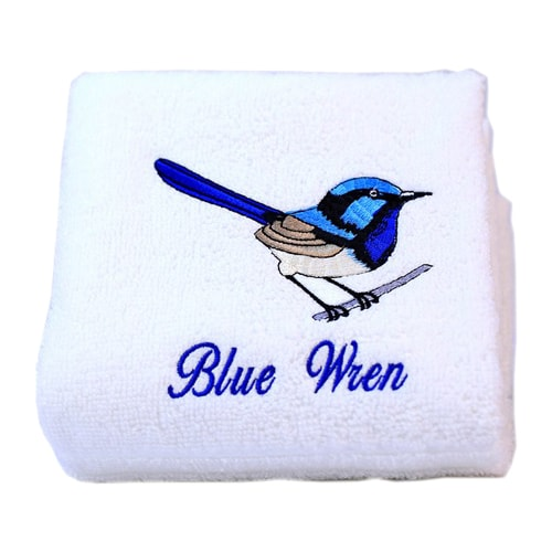 Blue Wren Luxury Cotton Hand Towel