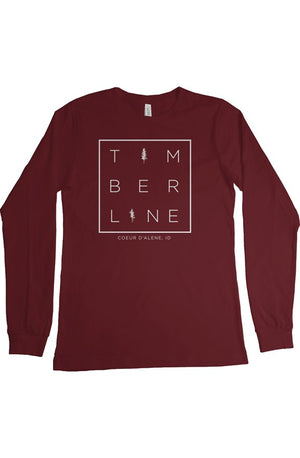 Squared Up Long Sleeve T Shirt - Forest Red
