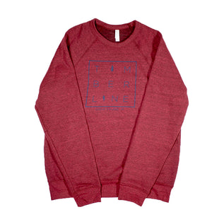 SQUARED UP LONG SLEEVE SWEATSHIRT – RED/BLUE