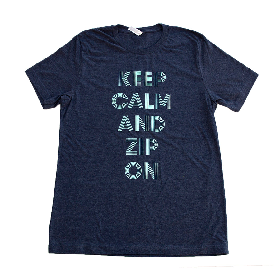 Keep Calm and Zip On T-Shirt - Blue