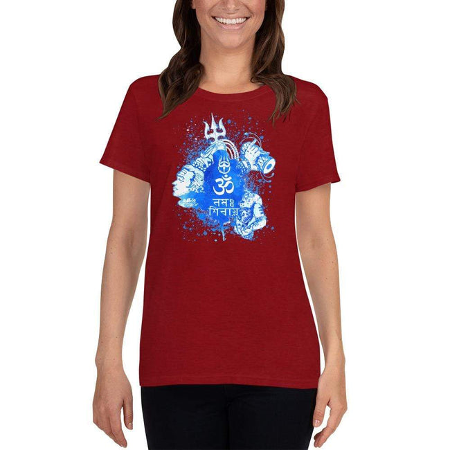 Antique Cherry Red / S Bengali Heavy Cotton Short Sleeve T-Shirt -Om Namah Shivay-03