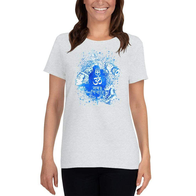 Ash / S Bengali Heavy Cotton Short Sleeve T-Shirt -Om Namah Shivay-03