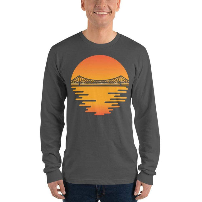 Asphalt / S Bengali Unisex Fine Jersey Long Sleeve T-Shirt - Howrah by the Dawn