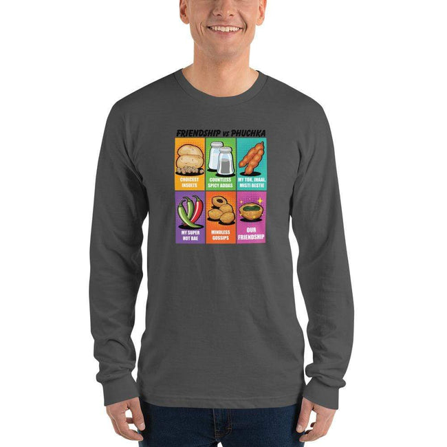 Asphalt / S Long Bengali Unisex Fine Jersey Long Sleeve T-Shirt - Phuchka and Friendst-shirt