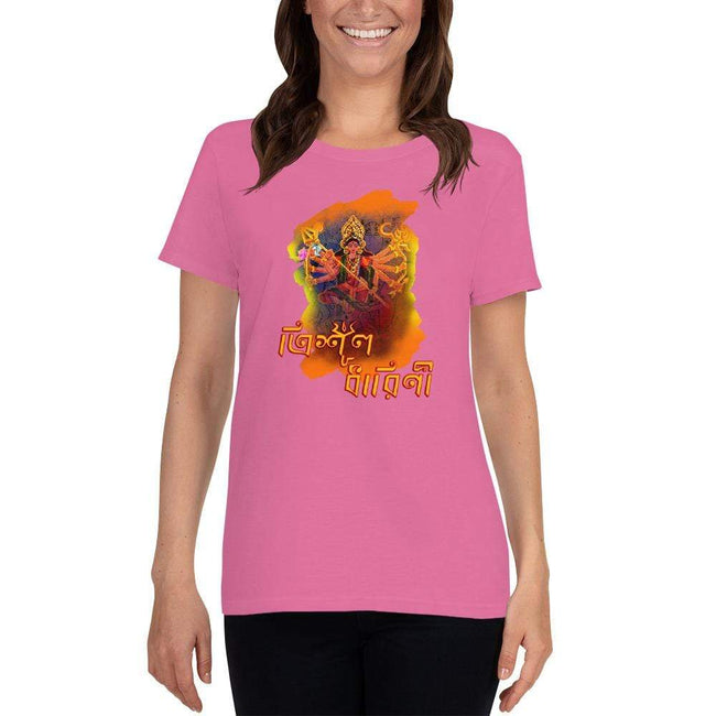 Azalea / S Bengali Heavy Cotton Short Sleeve T-Shirt -Trisul Dharini