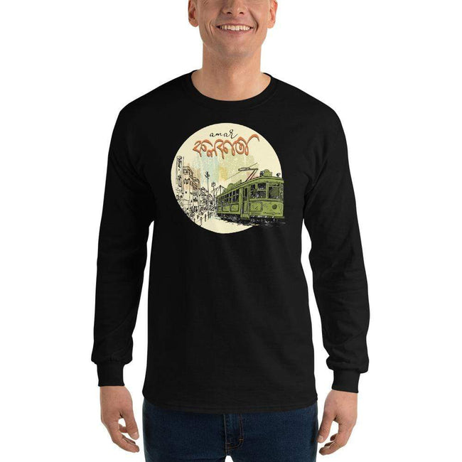 Black / S Bengali Ultra Cotton Long Sleeve T-Shirt - Amar Kolkata Tram