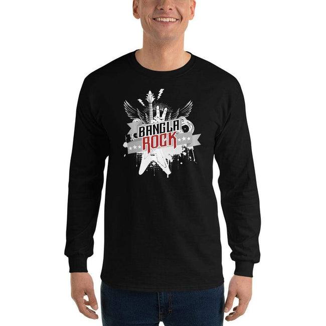 Black / S Bengali Ultra Cotton Long Sleeve T-Shirt -Bangla Rock
