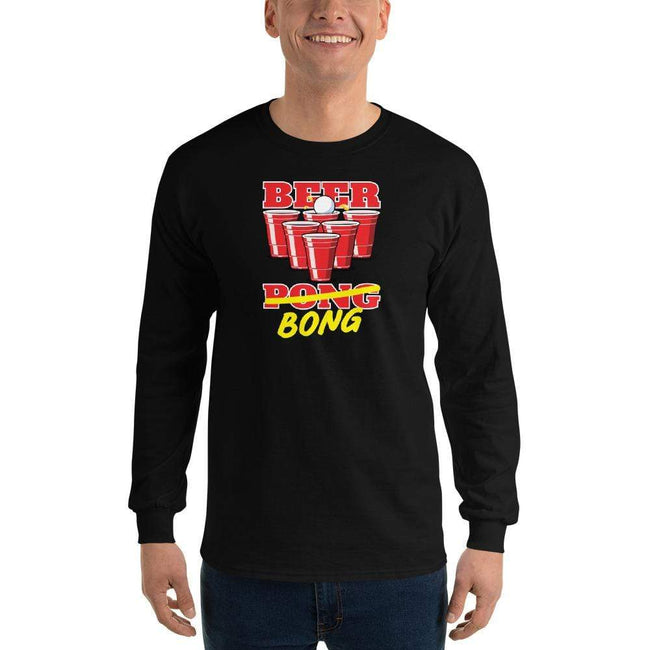Black / S Bengali Ultra Cotton Long Sleeve T-Shirt -Beer Bong