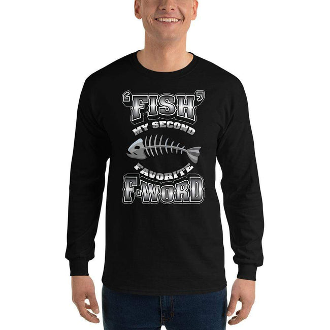 Black / S Bengali Ultra Cotton Long Sleeve T-Shirt - F for Fish