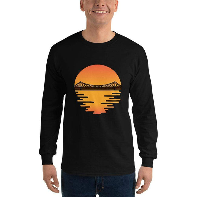 Black / S Bengali Ultra Cotton Long Sleeve T-Shirt - Howrah by the Dawn