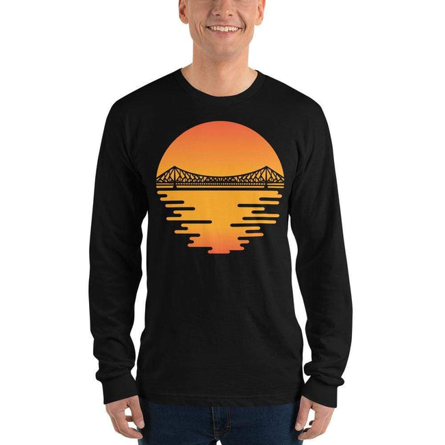 Black / S Bengali Unisex Fine Jersey Long Sleeve T-Shirt - Howrah by the Dawn