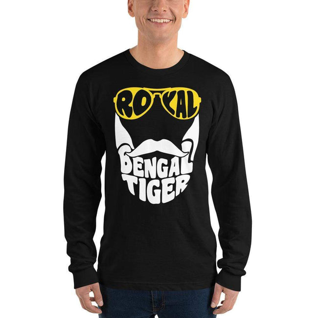 Black / S Bengali Unisex Fine Jersey Long Sleeve T-Shirt - Royal Bengal Tiger