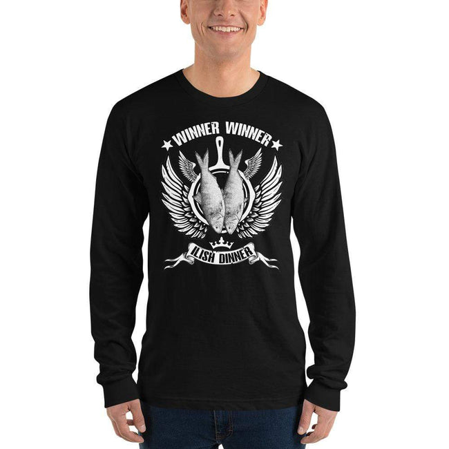 Black / S Bengali Unisex Fine Jersey Long Sleeve T-Shirt - Winner Winner Ilish Dinner