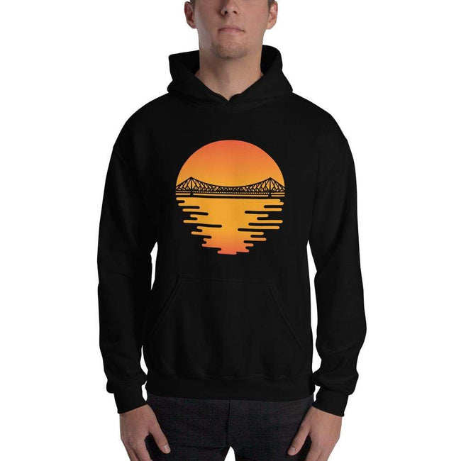 Black / S Bengali Unisex Heavy Blend Hooded Sweatshirt - Howrah by the Dawn