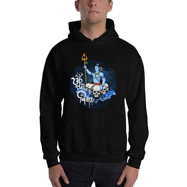 Black / S Bengali Unisex Heavy Blend Hooded Sweatshirt - Om Namah Shivay-01