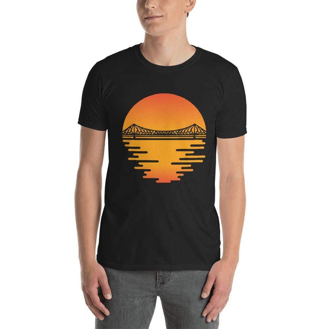 Black / S Bengali Unisex Softstyle T-Shirt - Howrah by the Dawn