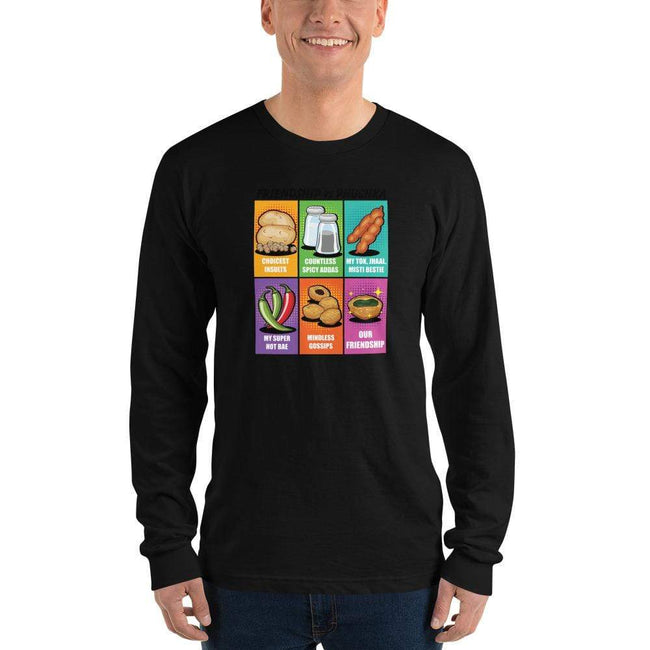 Black / S Long Bengali Unisex Fine Jersey Long Sleeve T-Shirt - Phuchka and Friendst-shirt