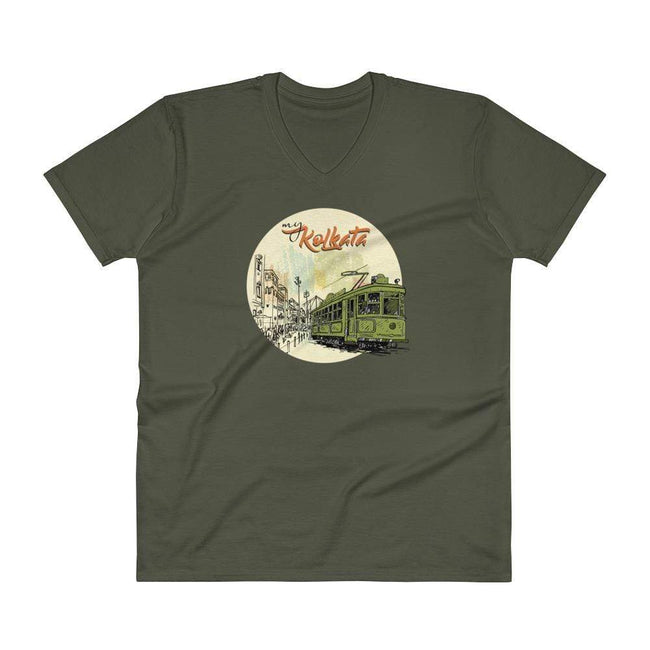 City Green / S Bengali Lightweight Fashion V-Neck T-Shirt - My Kolkata Tram