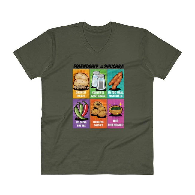 City Green / S Bengali Lightweight Fashion V-Neck T-Shirt - Phuchka and Friends