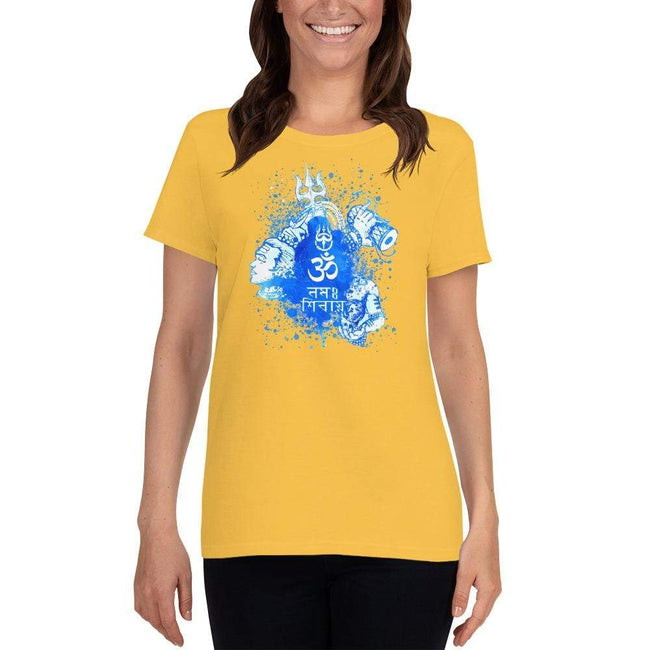 Daisy / S Bengali Heavy Cotton Short Sleeve T-Shirt -Om Namah Shivay-03