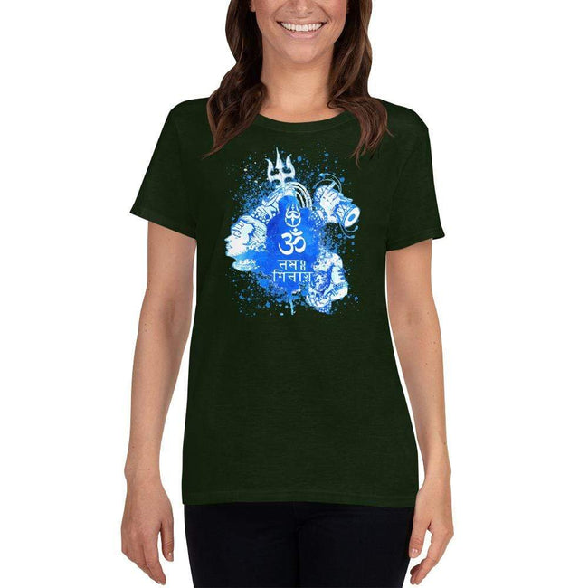Forest Green / S Bengali Heavy Cotton Short Sleeve T-Shirt -Om Namah Shivay-03