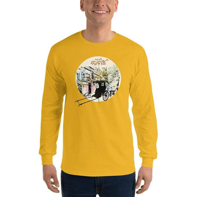 Gold / S Bengali Ultra Cotton Long Sleeve T-Shirt - Amar Kolkata-Rickshow