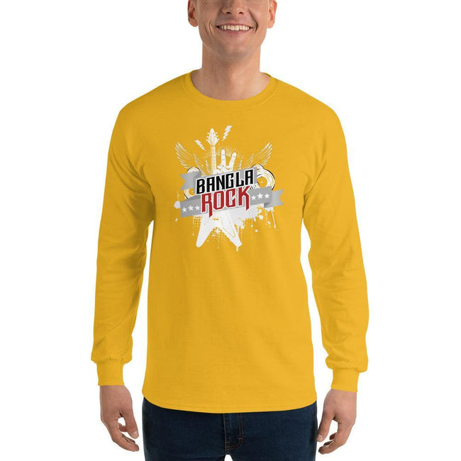 Gold / S Bengali Ultra Cotton Long Sleeve T-Shirt -Bangla Rock