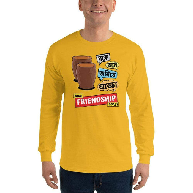 Gold / S Bengali Ultra Cotton Long Sleeve T-Shirt -Bong Friendship Goals
