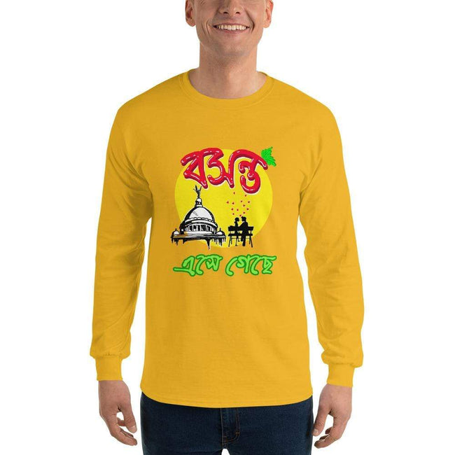 Gold / S Bengali Ultra Cotton Long Sleeve T-Shirt - Bosonto Ese Gache