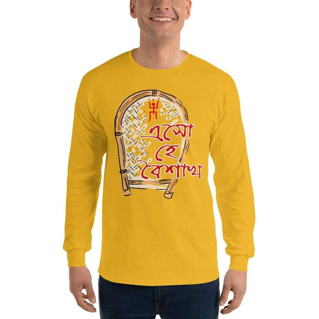 Gold / S Bengali Ultra Cotton Long Sleeve T-Shirt - Eso He Baishakh