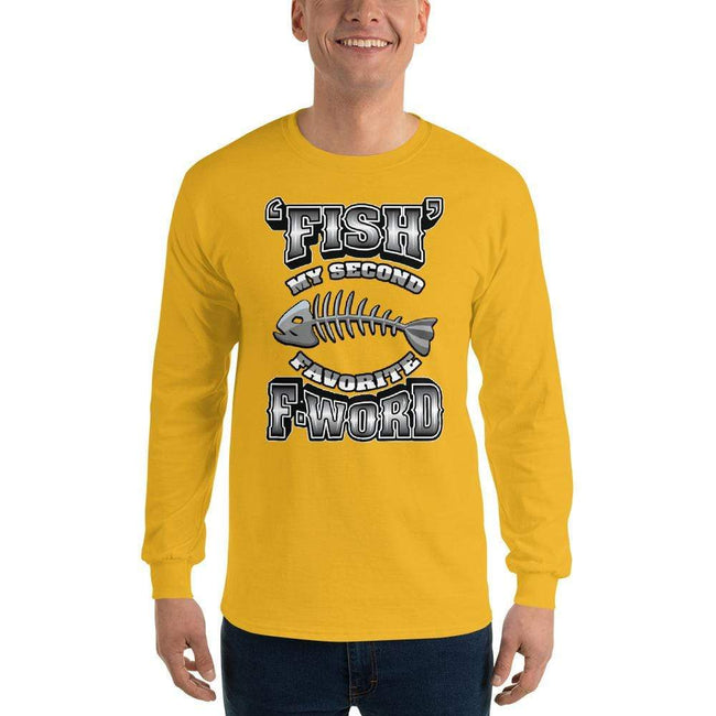 Gold / S Bengali Ultra Cotton Long Sleeve T-Shirt - F for Fish
