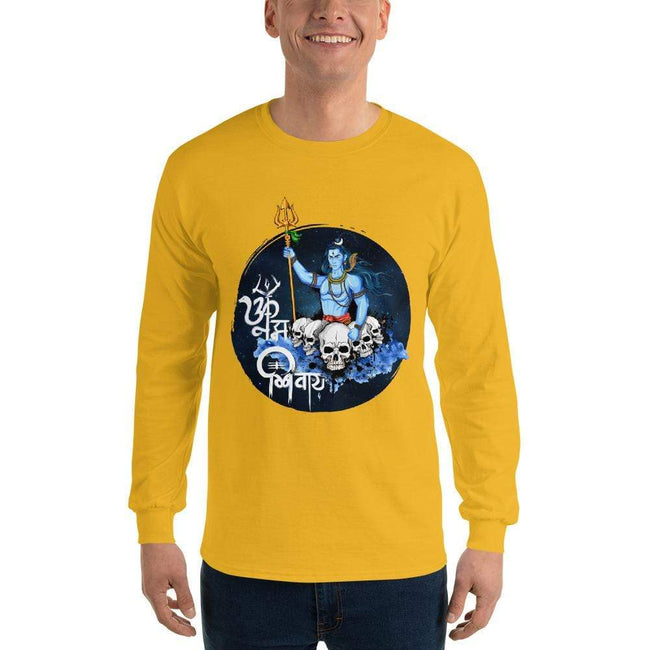 Gold / S Bengali Ultra Cotton Long Sleeve T-Shirt - Om Namah Shivay-01