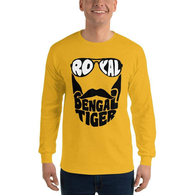 Gold / S Bengali Ultra Cotton Long Sleeve T-Shirt - Royal Bengal Tiger