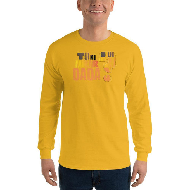 Gold / S Bengali Ultra Cotton Long Sleeve T-Shirt - Tui Ki Parar Dada?