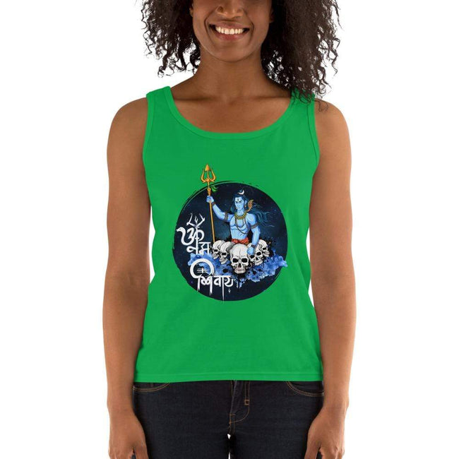 Green Apple / S Bengali Ultra Cotton Tank Top - Om Namah Shivay-01