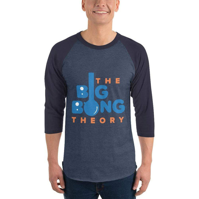 Heather Denim/Navy / XS Bengali Unisex Fine Jersey Raglan Tee   - The Big Bong Theory