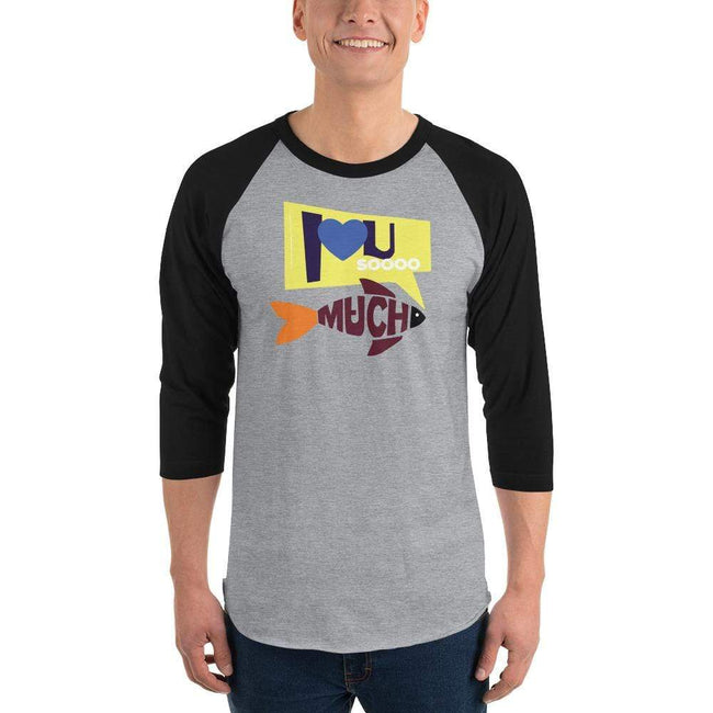 Heather Grey/Black / S Bengali Unisex Fine Jersey Raglan Tee   - I love you so much