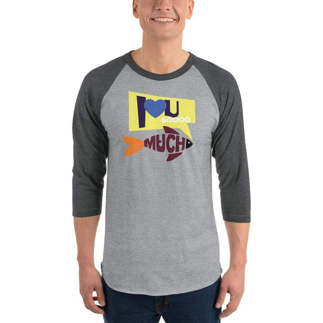 Heather Grey/Heather Charcoal / S Bengali Unisex Fine Jersey Raglan Tee   - I love you so much