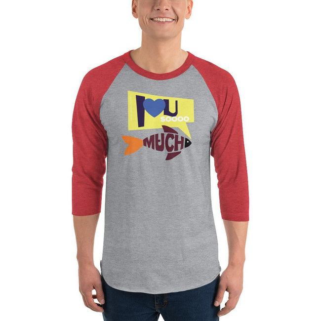Heather Grey/Heather Red / XS Bengali Unisex Fine Jersey Raglan Tee   - I love you so much
