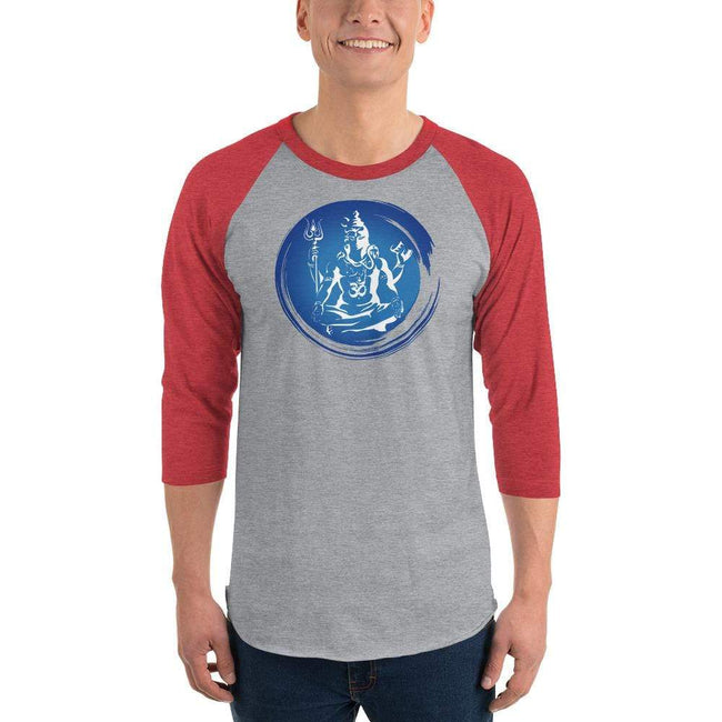 Heather Grey/Heather Red / XS Bengali Unisex Fine Jersey Raglan Tee - Om