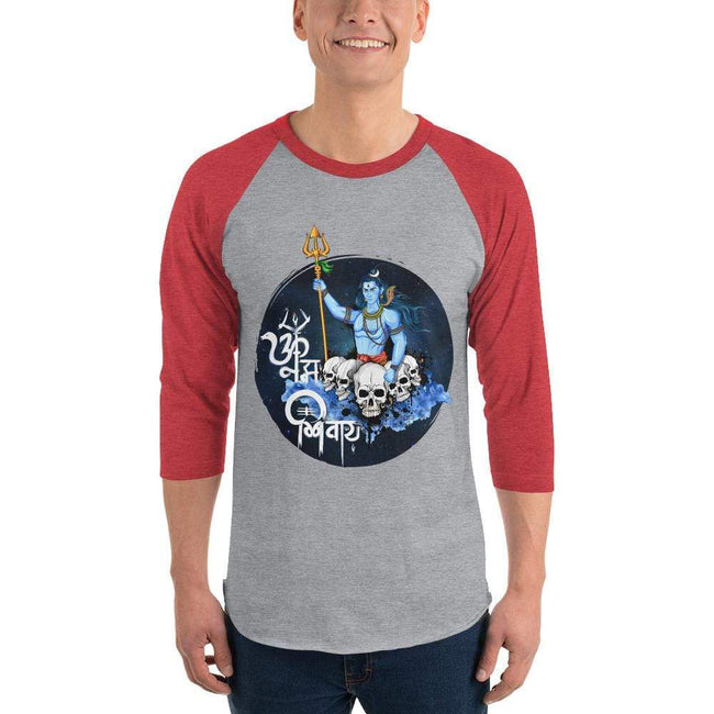 Heather Grey/Heather Red / XS Bengali Unisex Fine Jersey Raglan Tee - Om Namah Shivay-01
