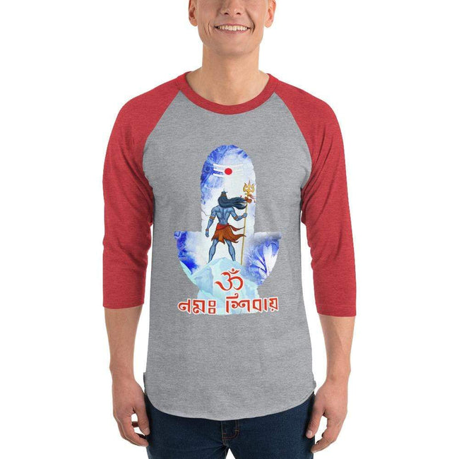 Heather Grey/Heather Red / XS Bengali Unisex Fine Jersey Raglan Tee - Om Namah Shivay-02