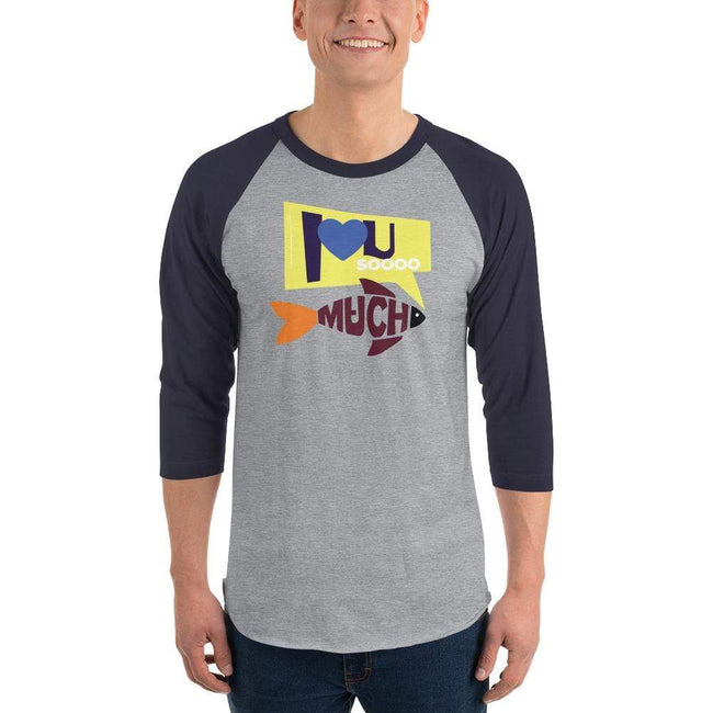 Heather Grey/Navy / XS Bengali Unisex Fine Jersey Raglan Tee   - I love you so much