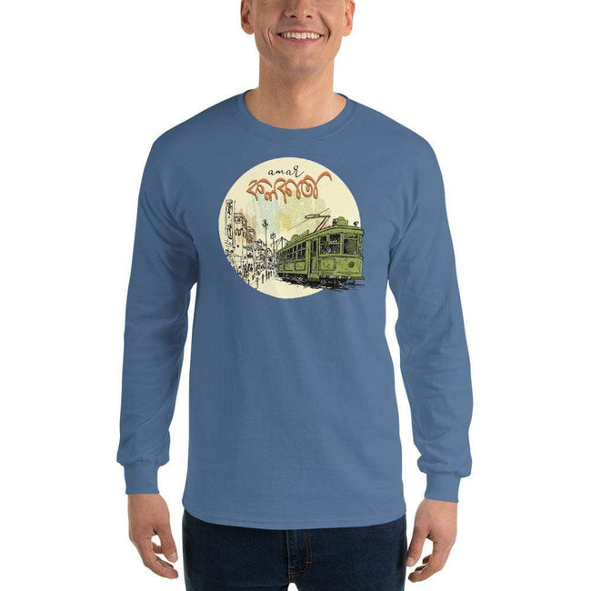 Indigo Blue / S Bengali Ultra Cotton Long Sleeve T-Shirt - Amar Kolkata Tram
