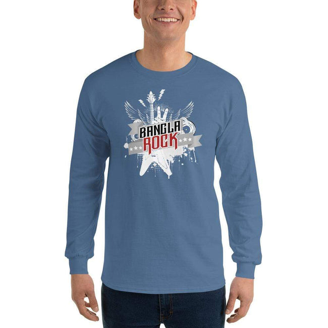Indigo Blue / S Bengali Ultra Cotton Long Sleeve T-Shirt -Bangla Rock